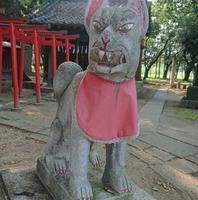 佐間天満社の伊奈利神社の狛犬